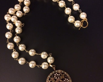 Handmade Glass Pearl Necklace with Vintage Multi Stone Pendant