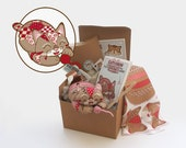 Patchwork Tabby Pin-Cushion Kit No.4 - Red Flower Hexagons