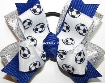 Soccer Ribbon Bow, Soccer Blue Silver Ponytail Bow, Girls Children's Soccer Accessories, Team Mascot Soccer Ball Bows, US World Cup Soccer