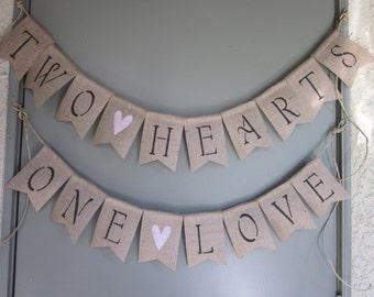 Two Hearts Wedding Banner - Two Hearts One Love Bunting - Romantic Rustic Chic Burlap Wedding Photo Prop - Vintage Style Love Garland Sign