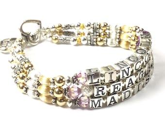 Mommy Gold Bracelet, Gold Mother's Bracelet, 3 Name Bracelet, Multiple Children Bracelet, Mother's Bracelet 3 names, Mother's Day Gift