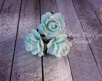 Aqua Rose Hair Pins- Mulberry Flowers- Paper Flowers- Floral Hair Pins- Hair Flowers- Hair Accessories- Bridal Hair Pins- Flower Girl