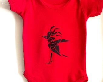 bird baby bodysuit, minimal babygrow, geometric clothing, unisex baby clothes, hipster kids