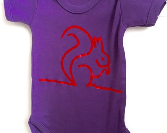 Purple squirrel bodysuit, newborn gift, chipmunk babygrow, unique infant clothing