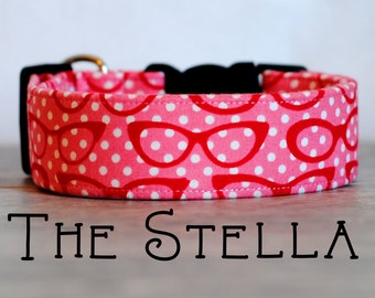 "Girly Vintage Glasses Pink & Red Dog Collar ""The Stella"""