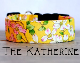 "Sweet Girly Yellow & Pink Dogwood Blossom Dog Collar ""The Katherine"""