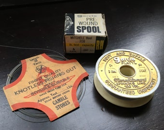 Garcia Fishing Vintage supplies Line Spool Pure Silk Gut Spinning Line Collection