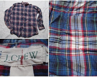 Vintage Retro Men's J.Crew Shirt Blue Red Green Plaid Distressed Buttonup Long Sleeve Large