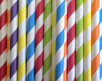 Rainbow Paper Straws Mix, Tableware, Party Decorations, Party Supplies, 25 pcs