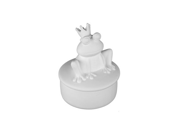 Prince charming frog box ceramic bisque paintable for Bisque ceramic craft stores