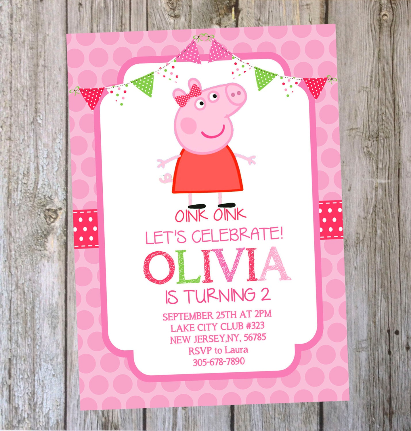 Delicate image throughout peppa pig printable invitations