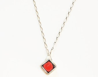 Edgy red and black square ceramic pendant set in recycled silver, hanging from pattern chain - Dulce Necklace in kitten goth glaze