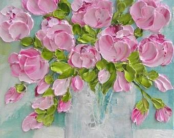 Pink Peonies Impasto Painting, Custom Impasto Peony Oil Painting
