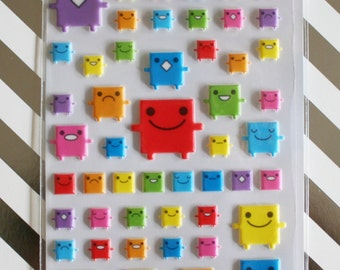 Colorful Square Monster Sticker Sheet