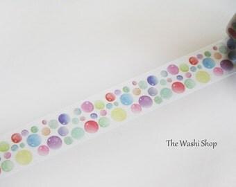 Watercolor Colorful Bubbles Washi Tape(20mm x 5m)