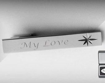 Personalized Tie Clip - Engraved Tie Bar - Stainless Steel Diamond Cut Tie Clip - Custom Wedding Accessories - Groomsmen Gifts - Fathers Day