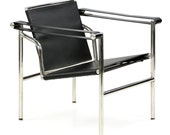 Chromed Steel and Black Leather Sling Back Arm Chair after Le Corbusier LC1 Basculant Model, Late 20th Century, 601WBH18