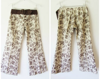 Vintage 28x28 Funky Cream and Brown Floral Hip Hugger Low Rise Bell Bottom Pants