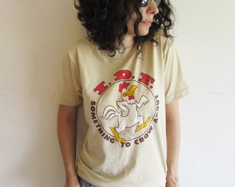 Vintage Tan Screen Stars I.D.F. Chicken T Shirt