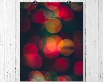 Bokeh Lights Print Colorful Wall Art Circle Art Modern Office Decor Christmas Decor Abstract Photography Sting of Lights Gallery Wall Prints
