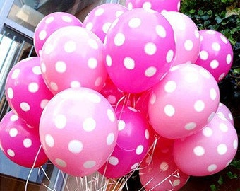 Pink and fuchsia / bright pink polka dot party balloon decorations x 6