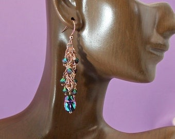 Handmade Rose Gold Chainmaille Earrings with Swarovski Crystal Scarab and Crystal Dangles