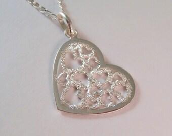 Heart, Wedding Necklace, Sterling Silver Heart Necklace, Anniversary Necklace, Heart Necklace, Cut Out Heart Necklace, Love Necklace,