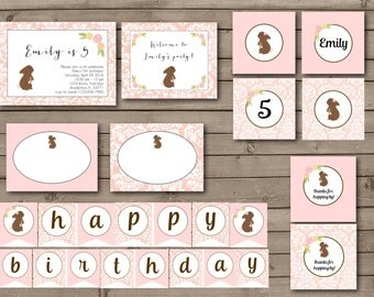 Damask Bunny Birthday Party Printable Collection or Choose your Items