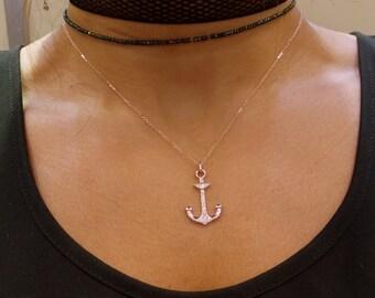 Anchor Necklace/ Diamond Anchor Necklace/ 14k Gold Anchor Necklace/ Hope Necklace/ Charm Necklace/ Rose Gold Anchor/ Birthday Gift