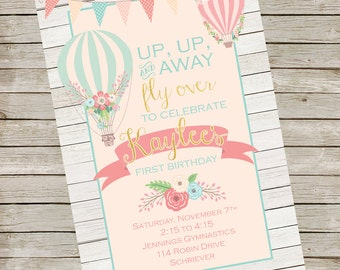 Hot Air Balloon Invitation PIY file ~ Hot Air Balloon Printable ~ Hot Air Balloon Birthday ~ Baby Shower ~ Bridal Shower ~ Digital File