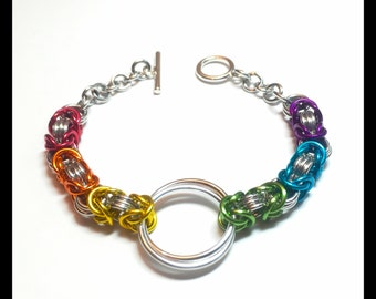 Gay Pride Charity Chainmaille Bracelet - Byzantine Rainbow