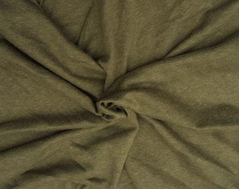 """Cotton Blend Fabric Jersey Knit by Yard Olive 64""""W 5/16"""