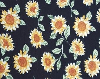 Cotton Spandex Jersey Knit Sunflower on Black Hippie Print Fabric by Yard 6/15
