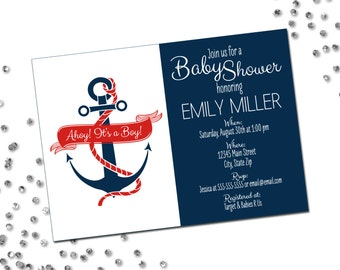 Nautical Baby Shower Invitation - Ahoy Its A Boy - Anchor - Navy Blue and Red - Printable