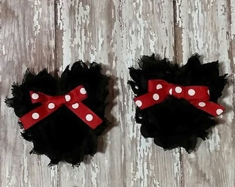 Minnie Mouse inspired shabby clip