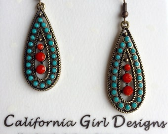 Turquoise Earrings - Turquoise & Coral Teardrop Earrings - Women's Turquoise Earrings - Southwest Earrings