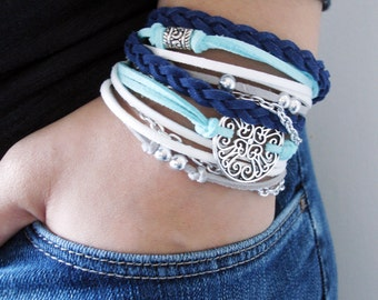 Handmade Jewelry, Womens Accessories, Boho Bracelet, Gift for her, Teen Gift, Wrap Bracelet, Bohemian Jewelry, Blue Braided Leather Bracelet