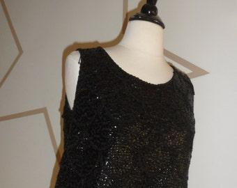 1950s beaded black sequin blouse  top