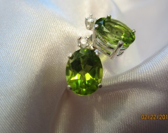 Natural Oval Peridot Studs accented with diamonds
