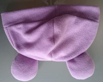 Lilac Bear Fleece Hat Stuffed Ears Cute Halloween Winter Costume