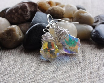 Women's Handmade Fashion Jewelry 925 Sterling Silver Chunky Wire Wrapped Swarovski Crystal Aurora  Dangle Drop Earrings , Gift For Her