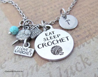 Crochet Charm Necklace, Personalized Hand Stamped Initial Birthstone Eat Sleep Crochet I love to Crochet Necklace