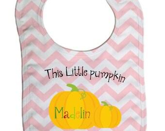 Pink Chevron pumpkin  personalized  baby bib, baby shower gift- -B034