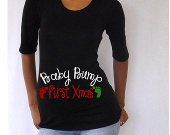 """Spring Sale 10% Discount Ends April 15th Black Christmas Maternity Shirt/Tee/Top """" Baby Bump First Xmas""""   Stylish 3/4 sleeves ..."""