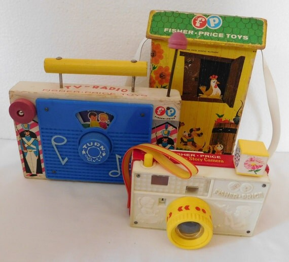 Vintage Musical Toys : Vintage fisher price toy toys musical wood radio
