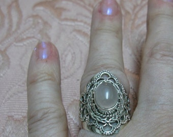 HOLD FOR MARIA M.  - Rose Quartz Sterling Silver Ring Size 7 1/2