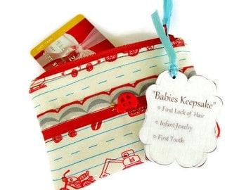 Baby Gift Card Holder, Keepsake Holder, Boys, Memento Holder, Boys Heirloom Pouch, Red and Blue, Cars and Trucks