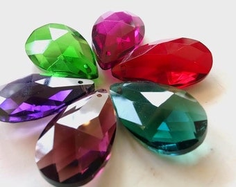 6 Assorted Jewel Tone Teardrop Chandelier Crystals Shabby Chic Prisms Pendants
