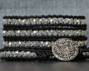 wrap bracelet- clear aurora borealis crystal on black leather- beaded leather 5 wrap bracelet - boho glam bohemian
