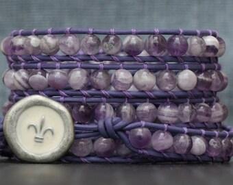 amethyst bracelet- chevron amethyst on purple leather beaded wrap bracelet - fleur de lis jewelry - purple and white - boho